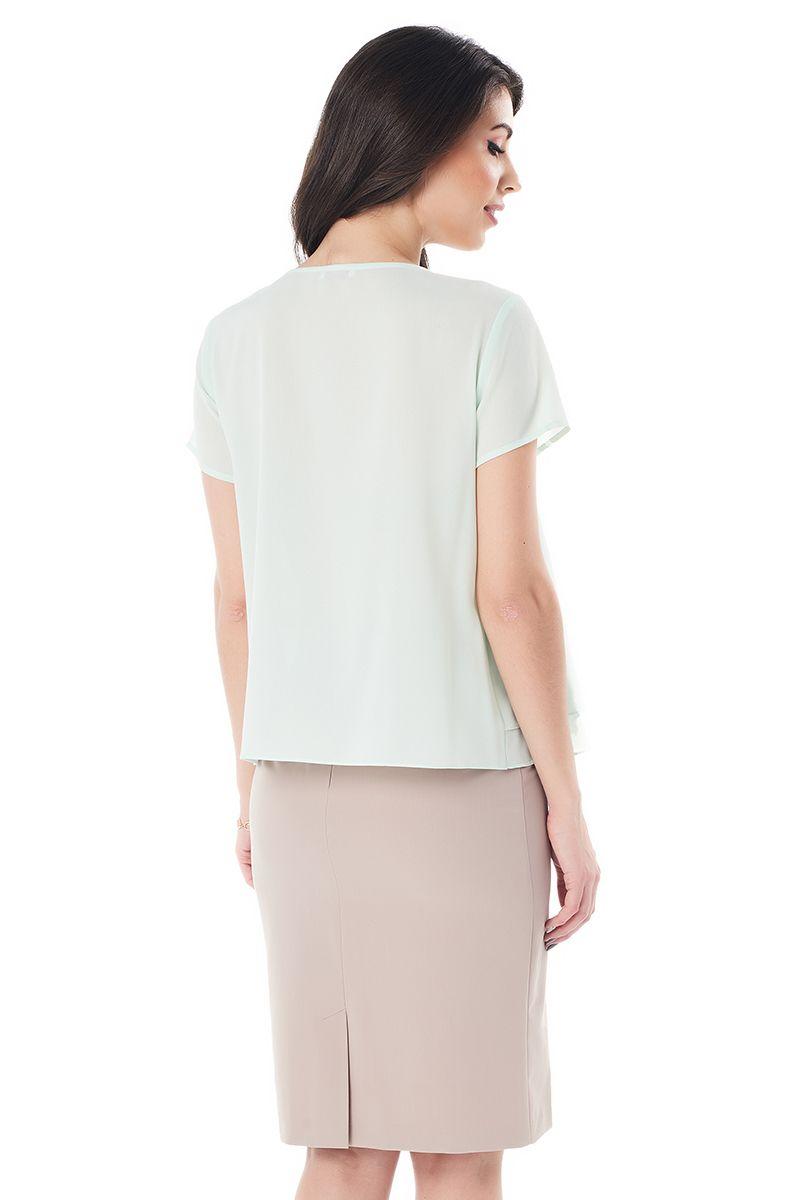 Фисташковая офисная блузка LalaStyle 1373