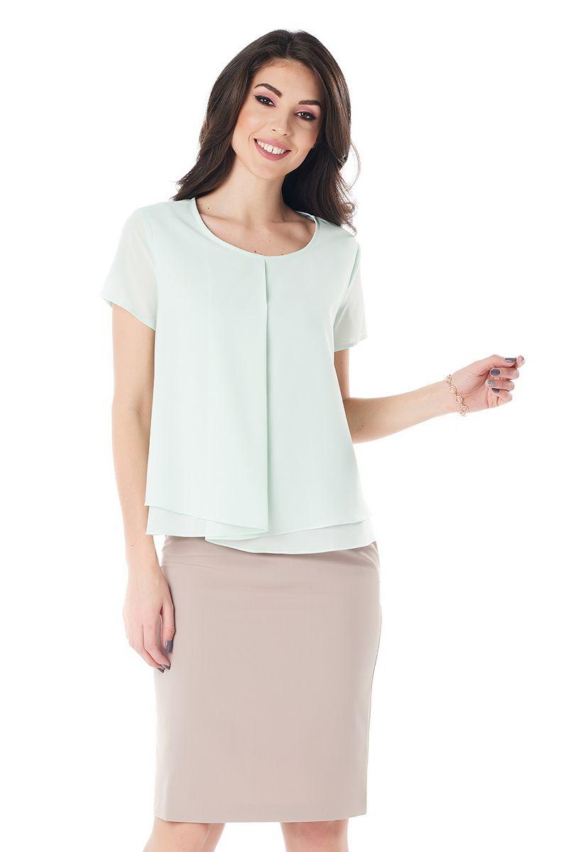 Фисташковая легкая блузка LalaStyle 1409