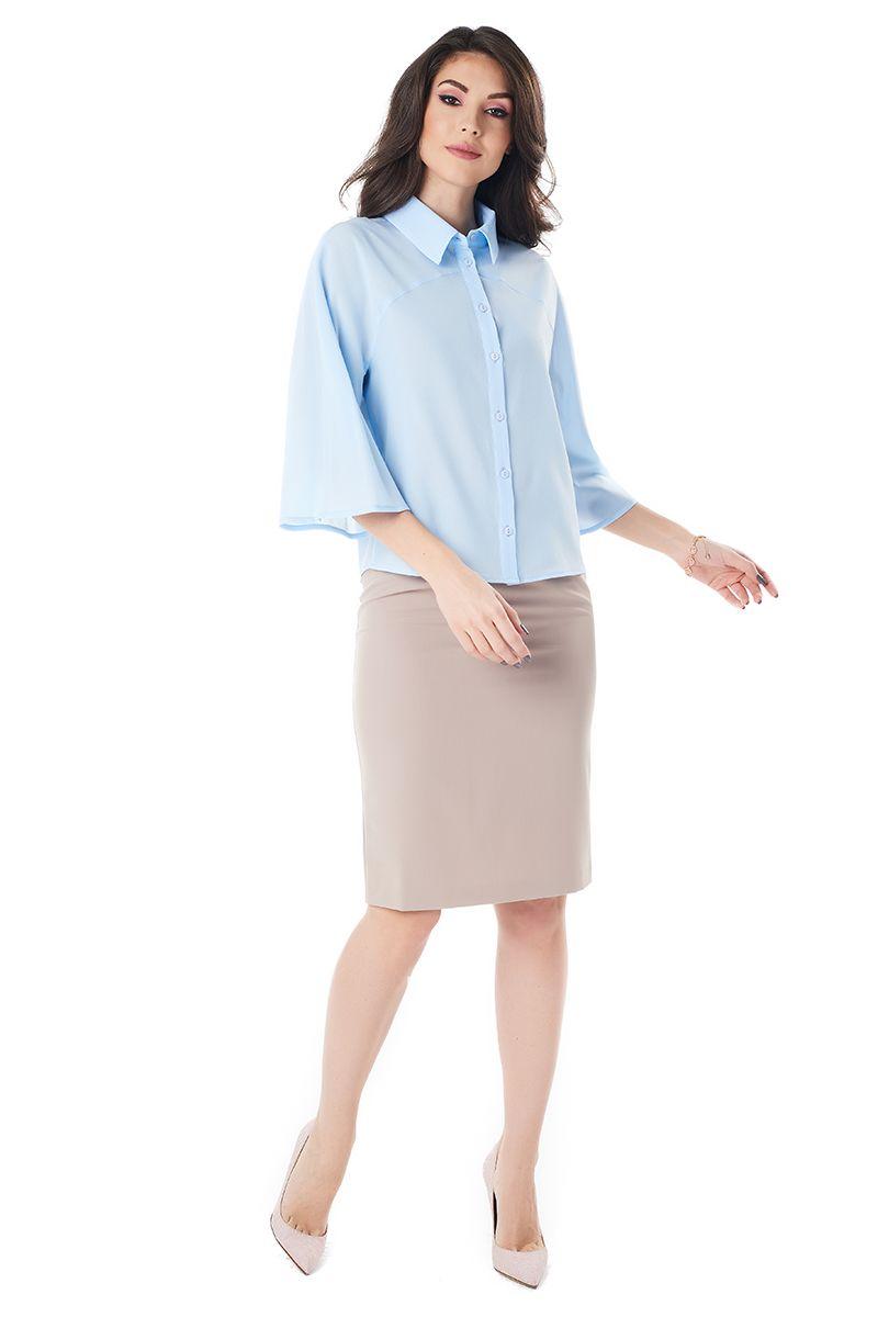 Голубая офисная блузка LalaStyle 1373