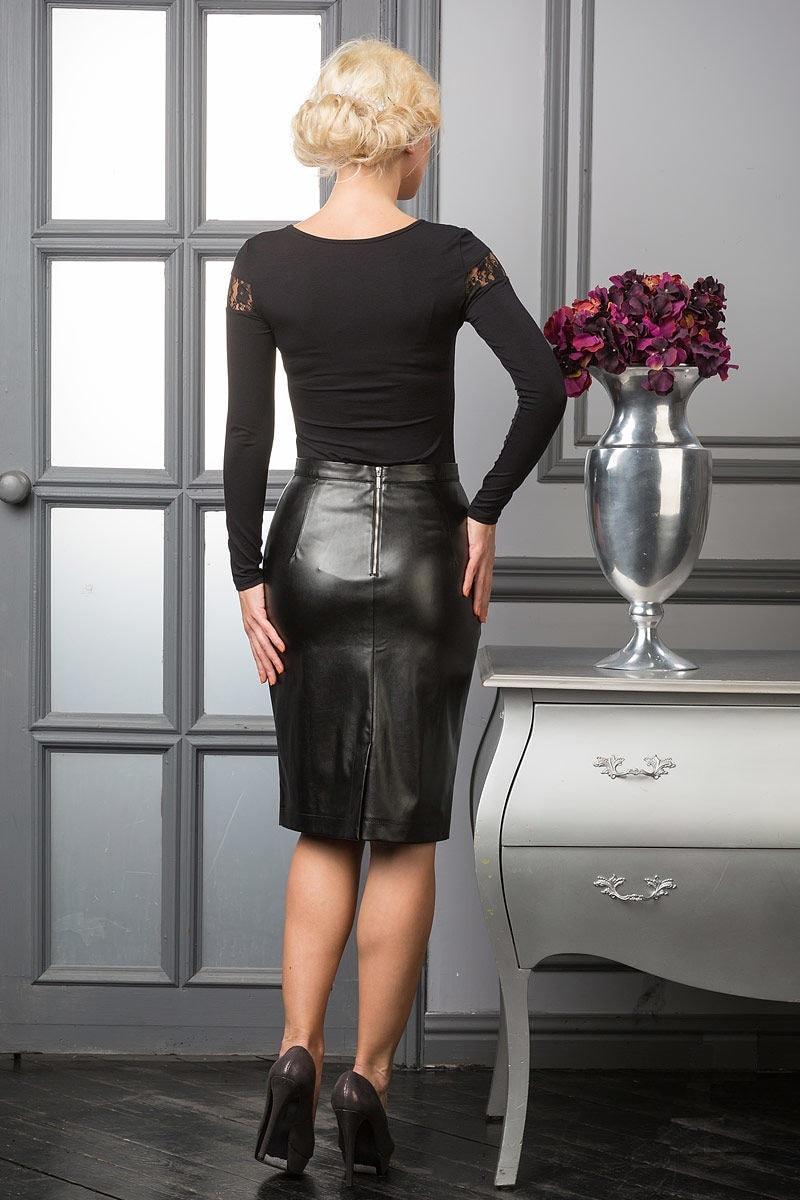 Модная юбка карандаш из эко кожи Lala Style 970