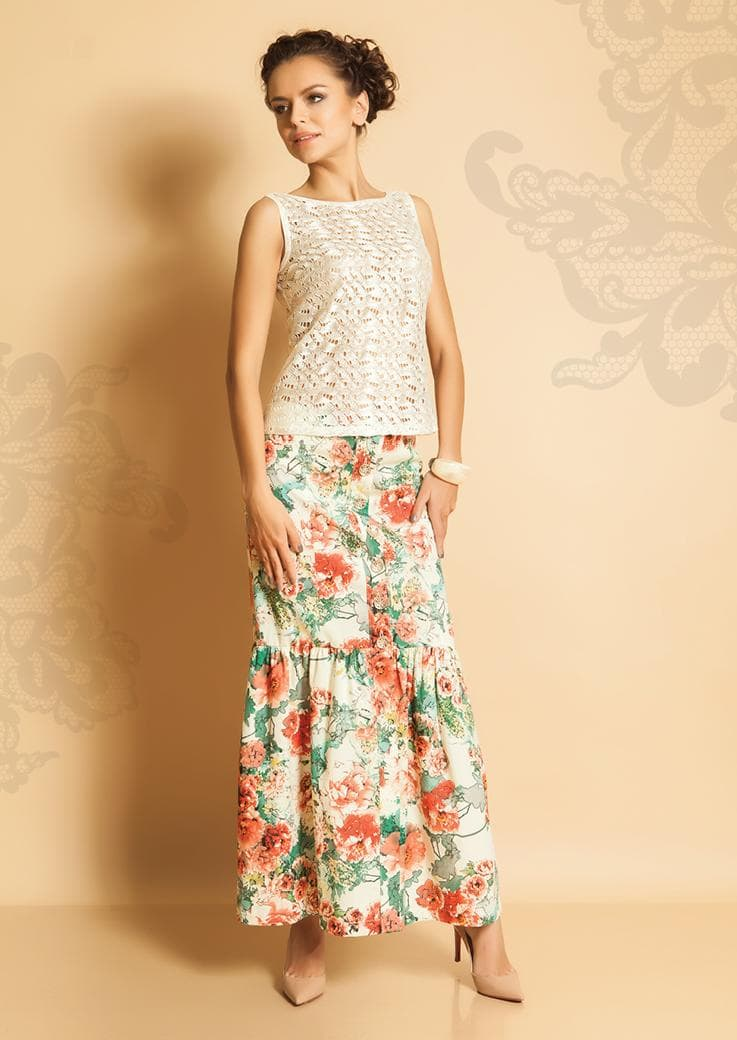 Красивая хлопковая юбка на лето TopDesign РА5 60