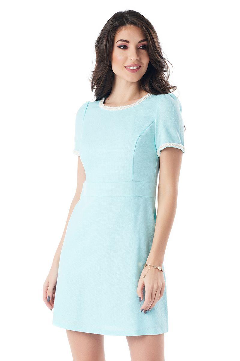 Льняное платье цвета аквамарин LalaStyle 1383