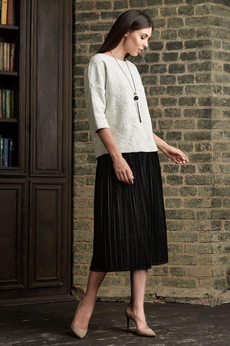 Бархатная черная юбка плиссе Lala Style 1363