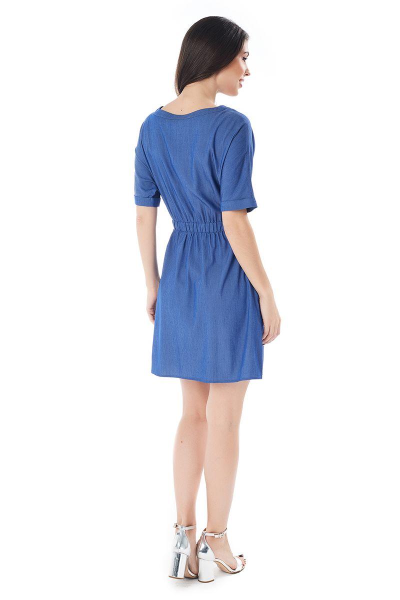 Синие однотонное летние платье Lala Style 1403