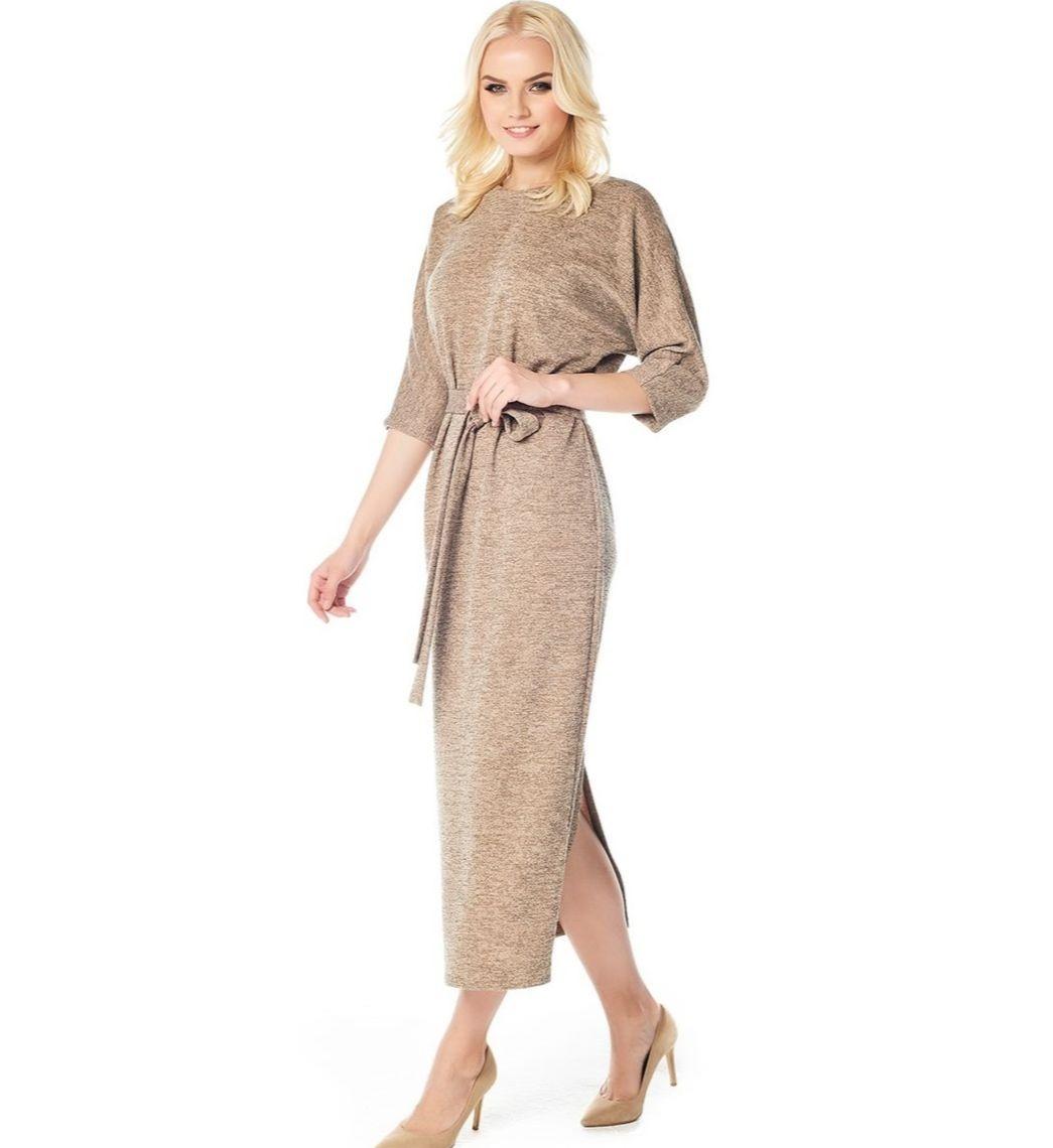 Стильное платье золотого цвета LalaStyle W01068