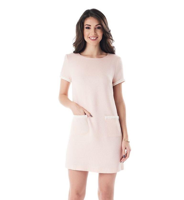 Модное летнее платье персикового цвета LalaStyle 1382