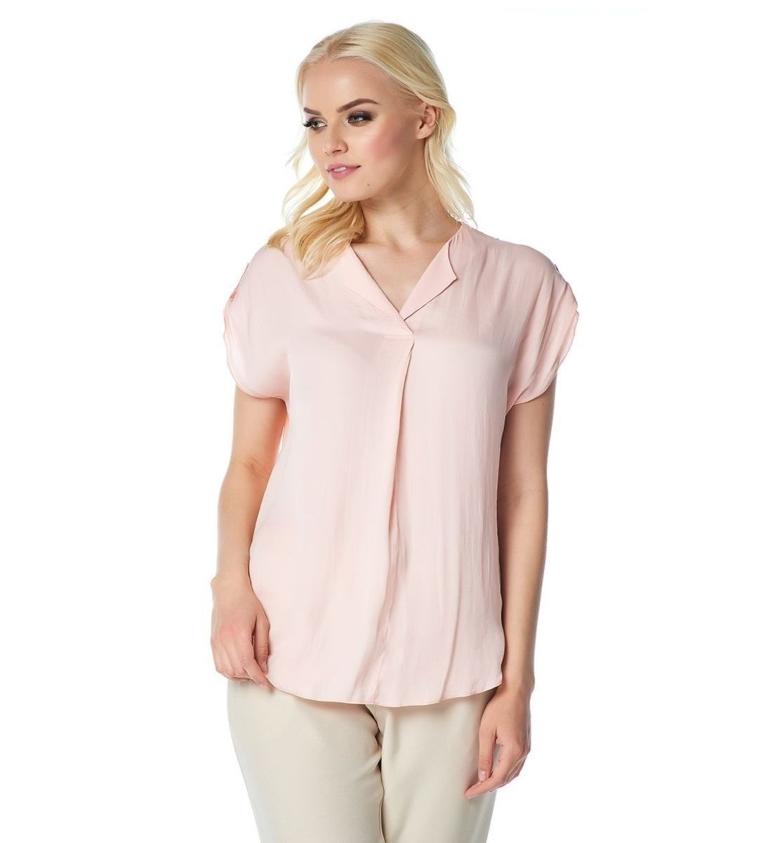 Персиковая модная блузка LalaStyle 1408