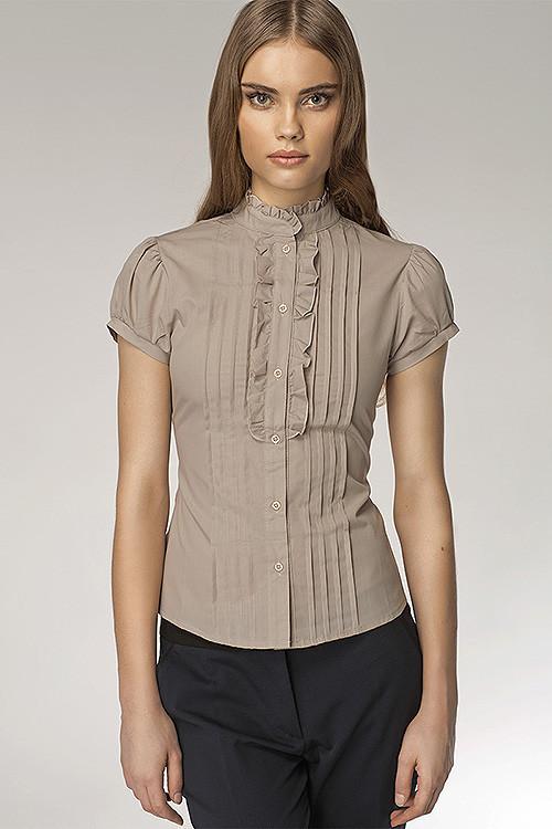 Бежевая рубашка с коротким рукавом NIFE К26