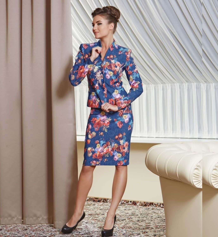 Красивый женский костюм с юбкой TopDesign PA4 55