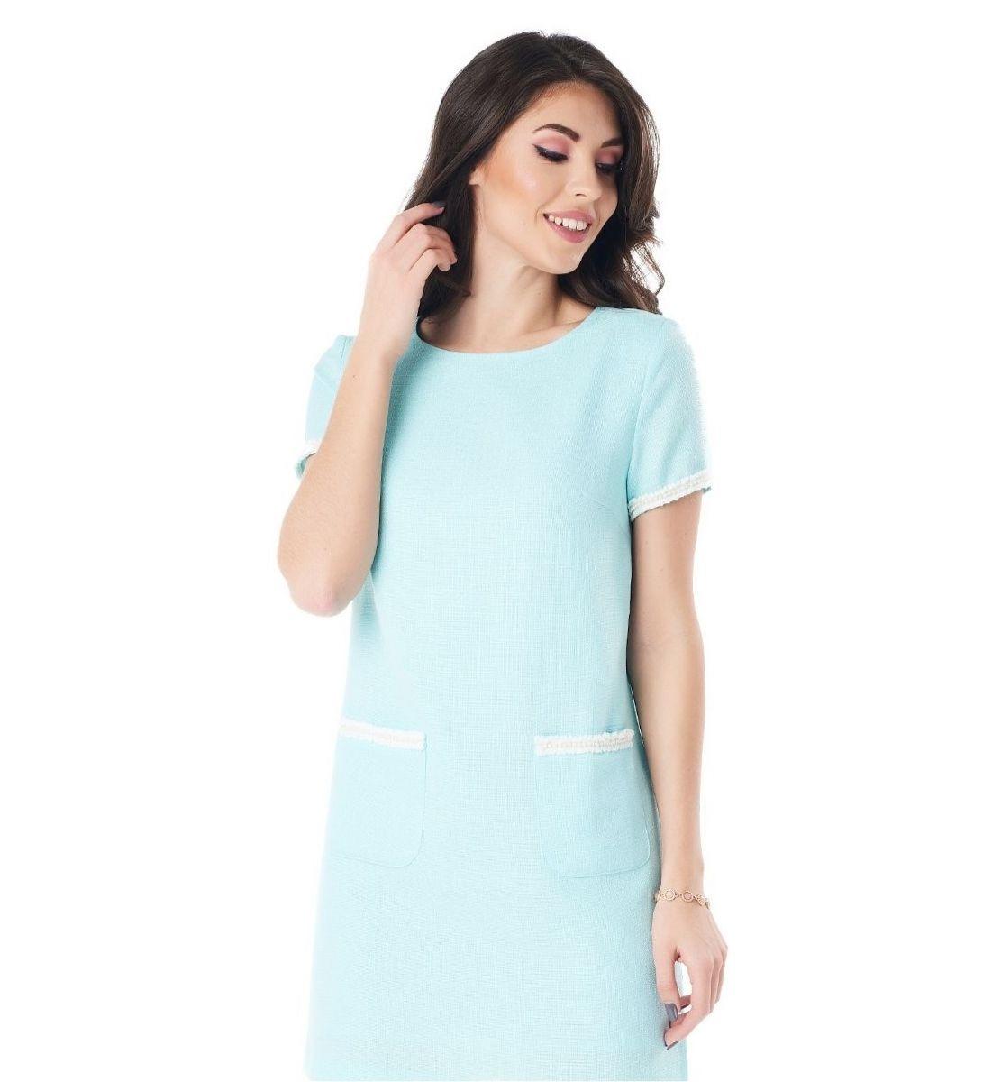 Льняное платье с накладными карманами LalaStyle 1382