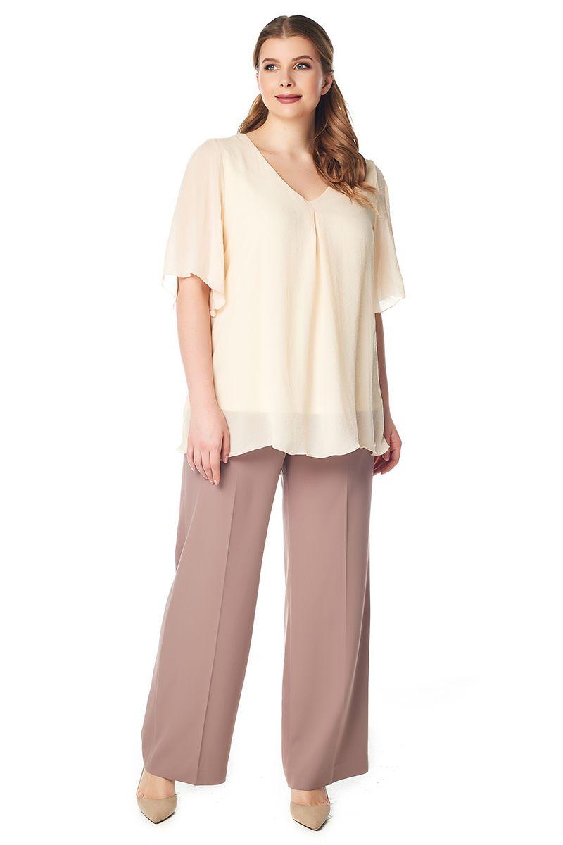 Летняя свободная блузка молочного цвета LalaStyle 1412