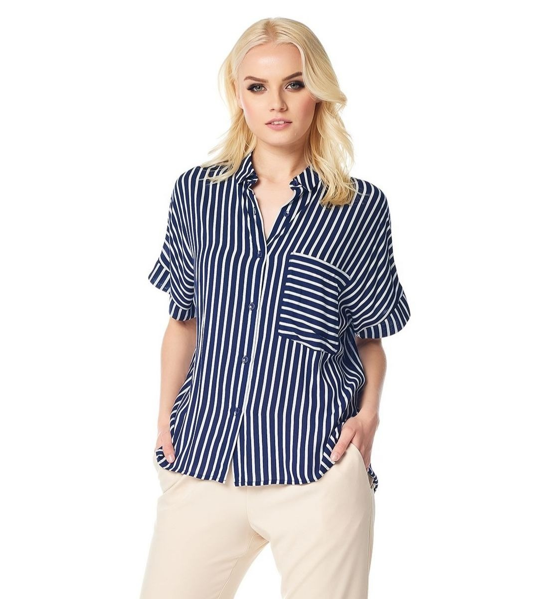 Модная блузка в полоску LalaStyle 1402-263