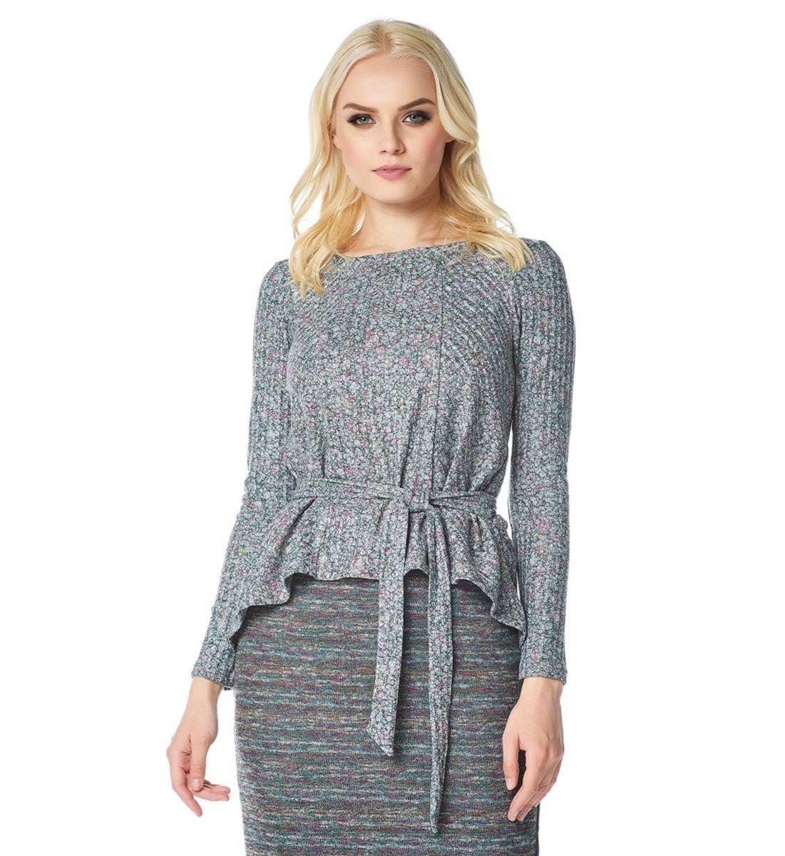 Стильная блузка с поясом Lala Style W02007-286