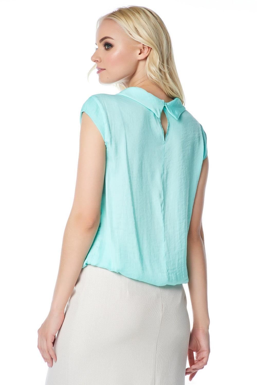 Летняя блузка цвета аквамарин LalaStyle 1376
