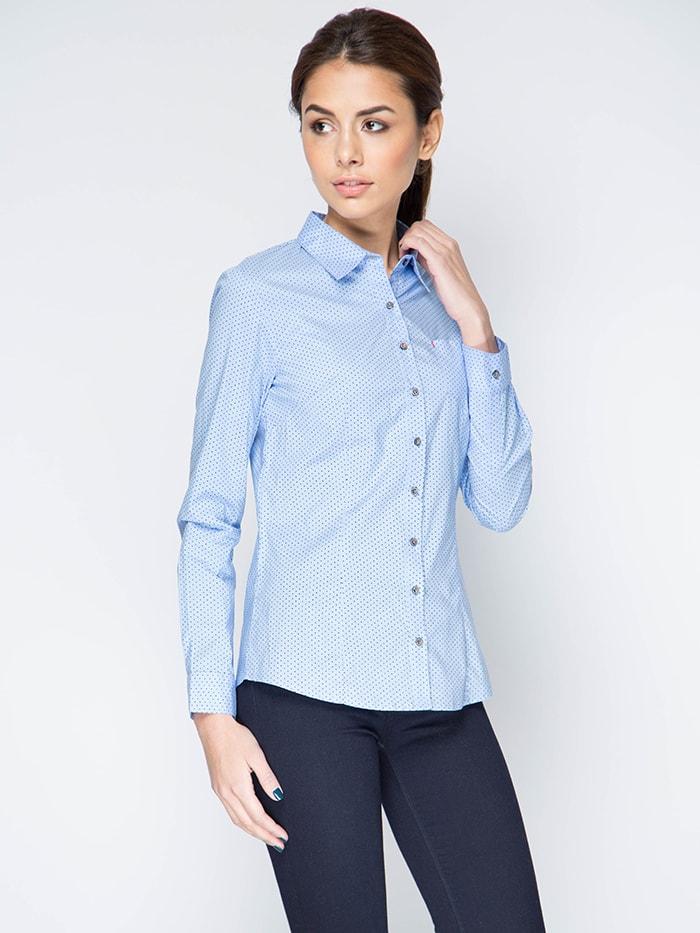 Приталенная голубая рубашка Marimay 15113