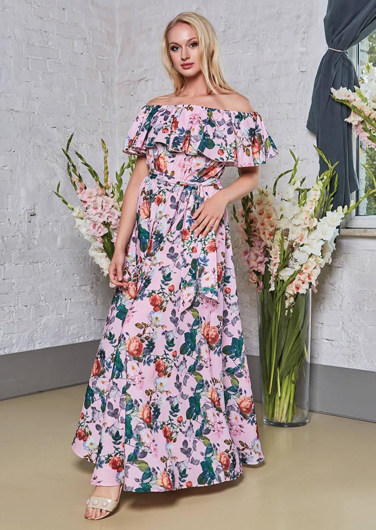 Длинное розовое платье TopDesign РА8 36