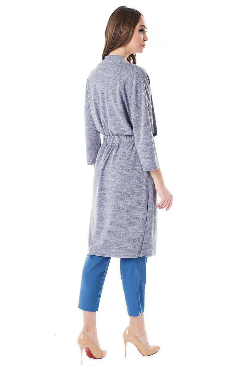 Серо-голубой длинный жакет LalaStyle 1451