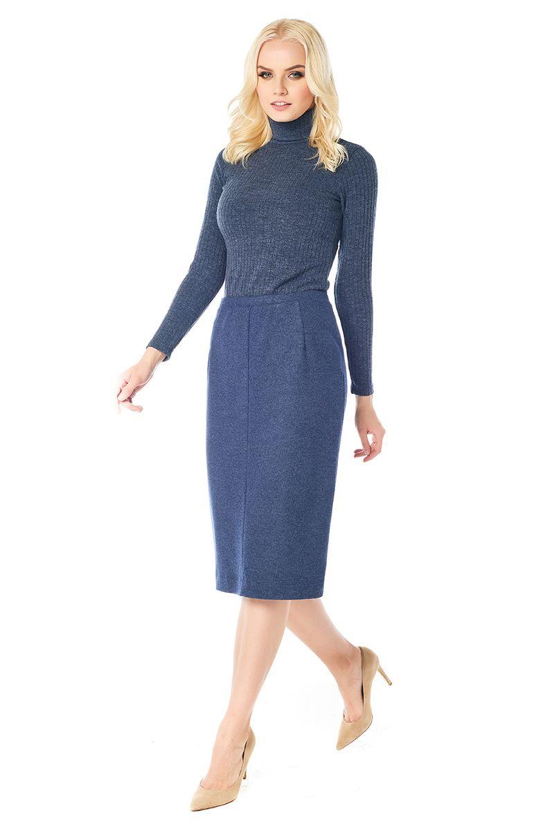 Синяя юбка на резинке Lala Style W10013