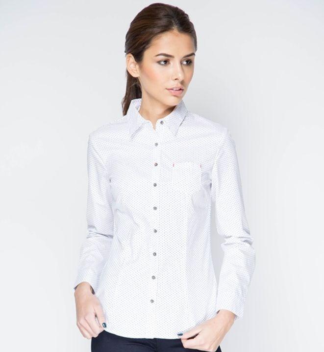 Белая женская рубашка с длинным рукавом Marimay 15113