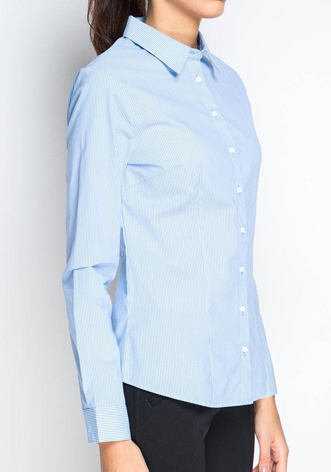 Голубая женская рубашка в полоску Marimay 281-1556