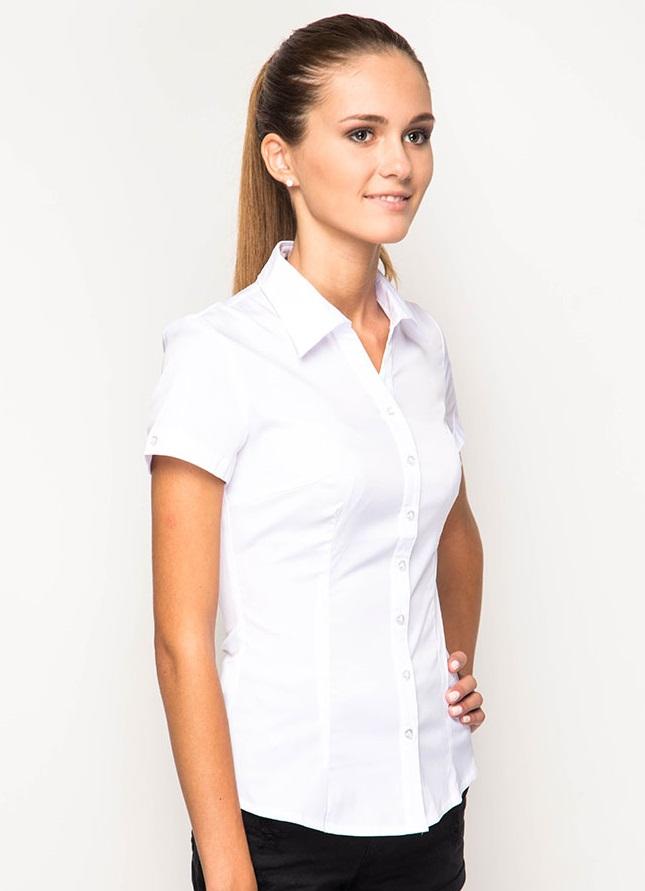 Женская белая рубашка с коротким рукавом Marimay 905-132190-1