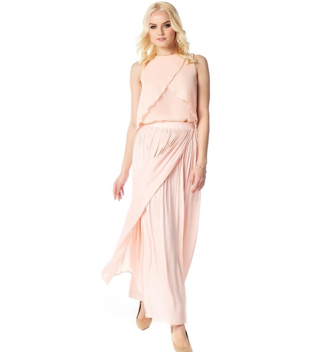 Длинная летняя юбка персикового цвета LalaStyle 1455