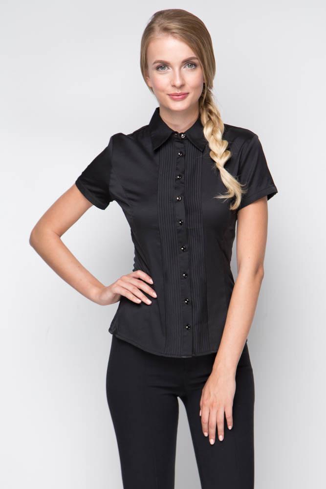 Черная рубашка с коротким рукавом Marimay 905-1239-1