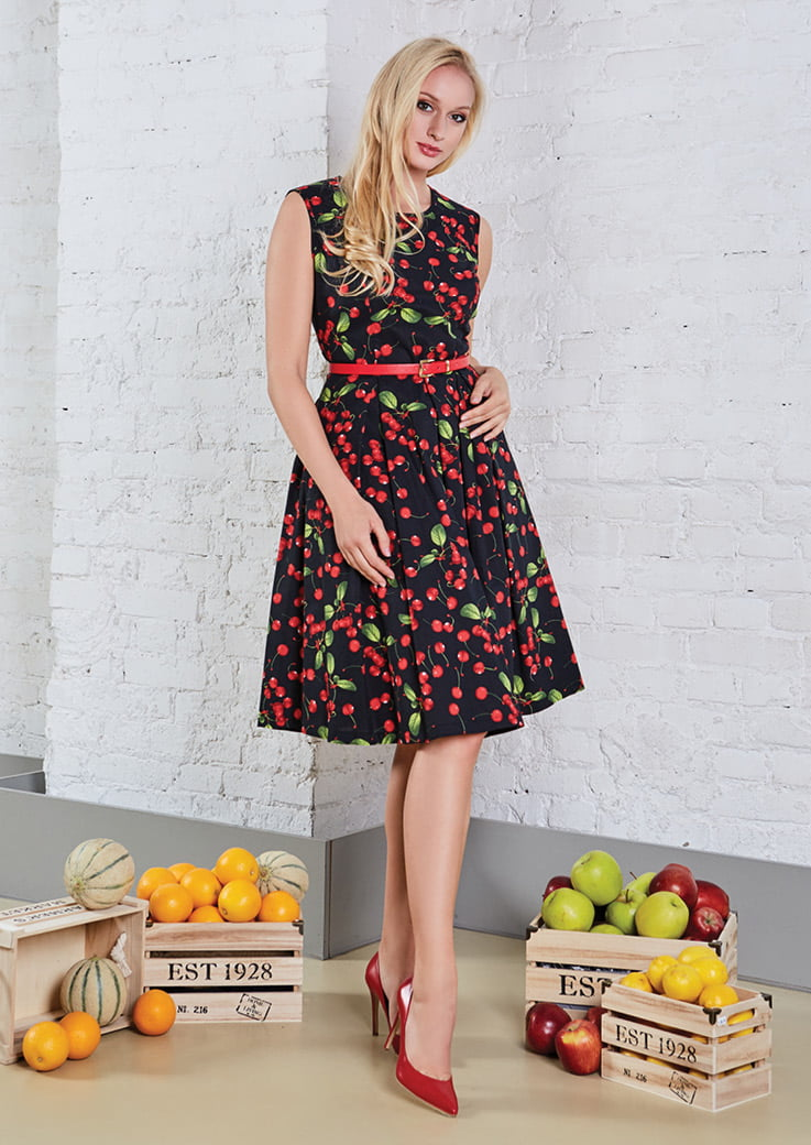 Хлопковое черное платье на лето TopDesign A8 061