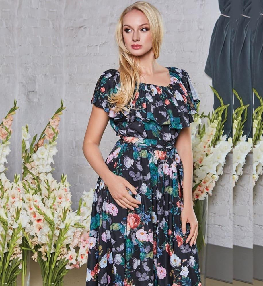 Длинное черное платье с цветами  TopDesign РА8 36