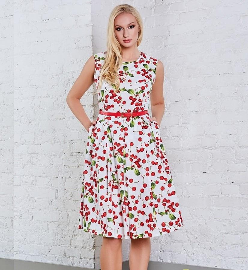 Белое летние платье с вишенками TopDesign A8 061