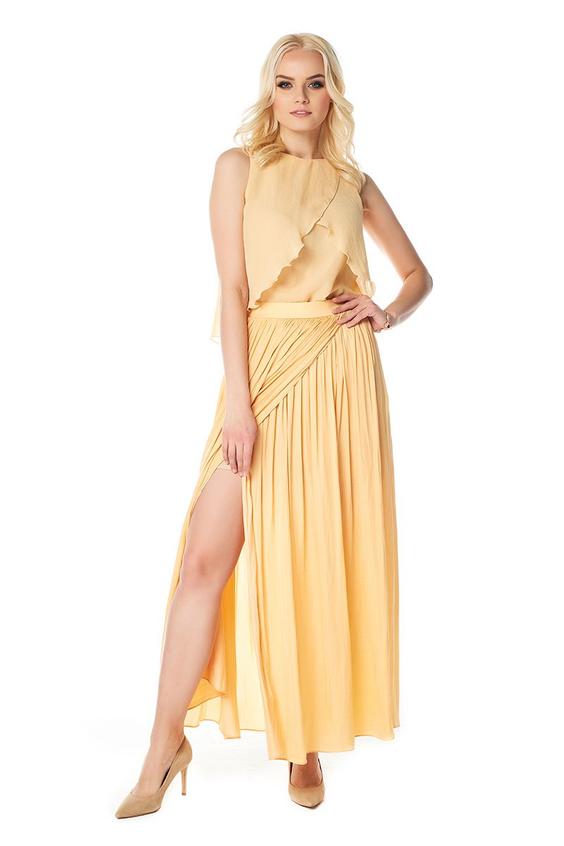 Макси-юбка с запахом золотистого цвета LalaStyle1455