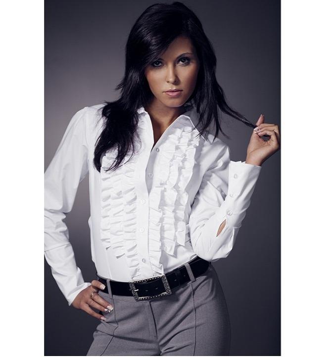 Модная белая женская рубашка с рюшами Nife К01