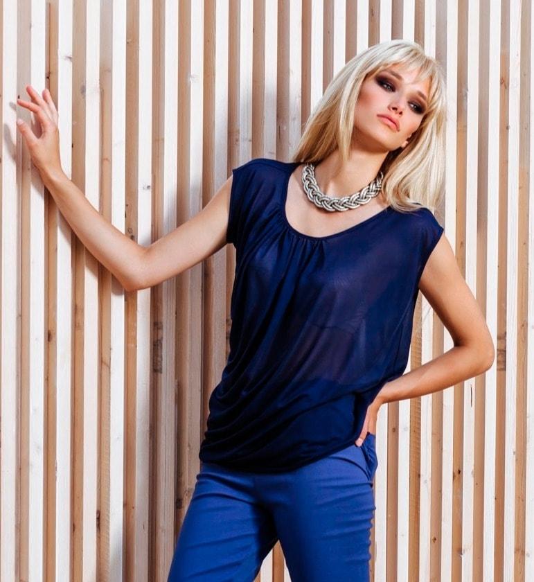 Темно-синий модный топ Flaibach 091S5