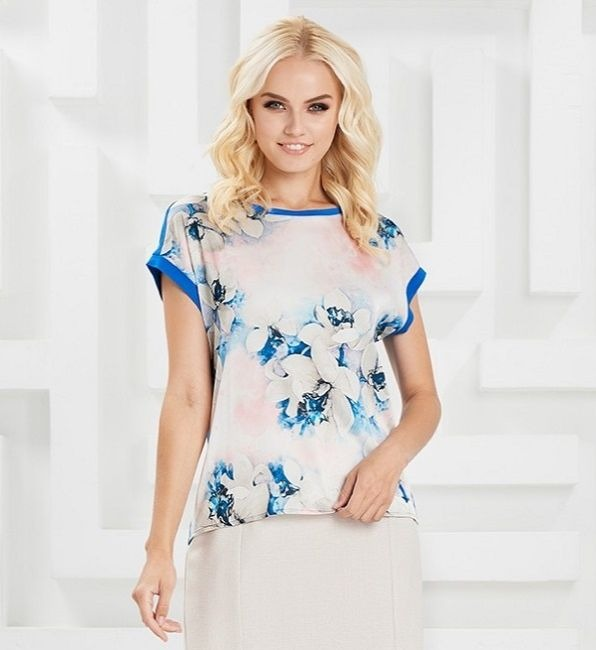 Летняя блузка с коротким рукавом LalaStyle S02023