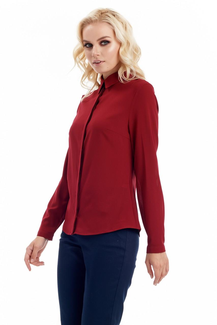 Офисная блузка цвета бордо LalaStyle W02001