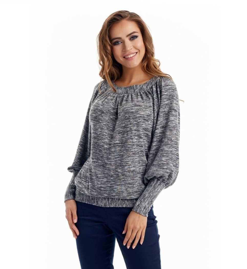 Серая блузка Lala Style W02057