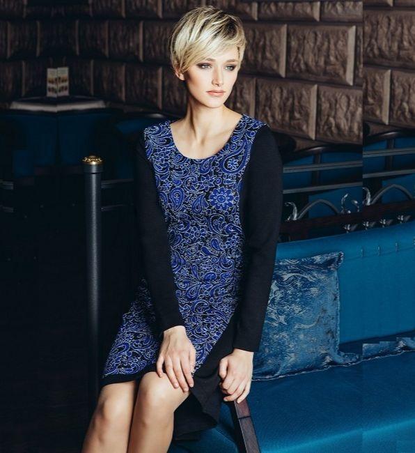 Черное платье с синим Flaibach 073W6