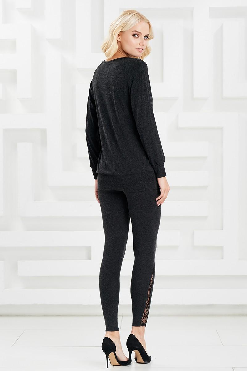 Черные шерстяные легинсы Lala Style W11051