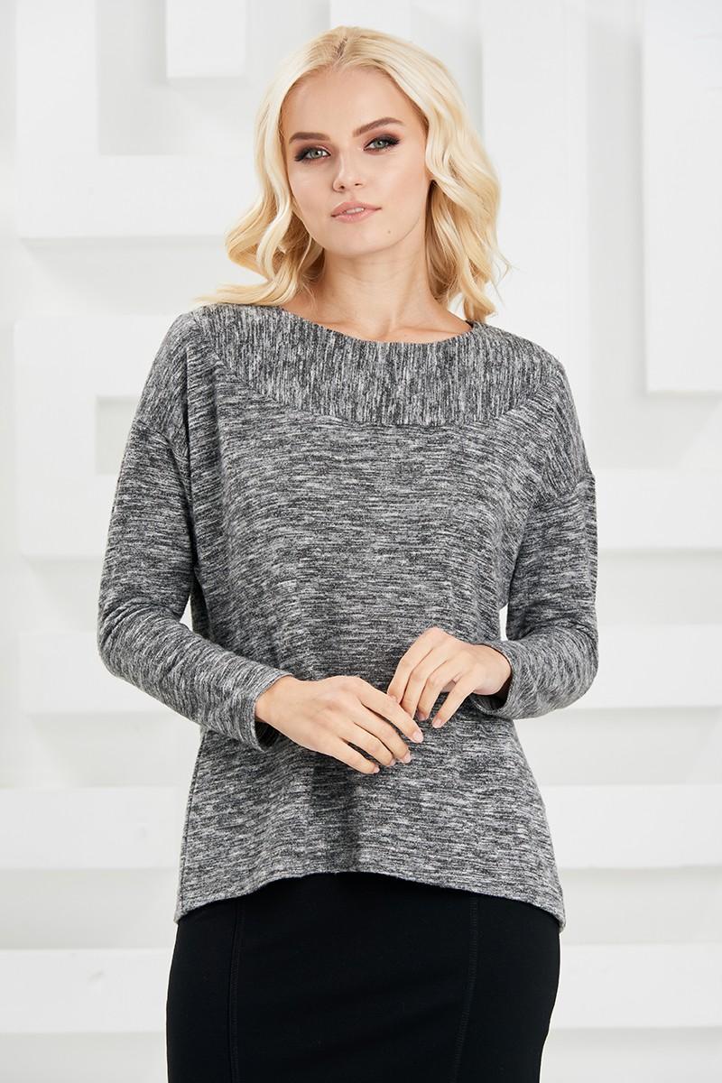 Теплый серый джемпер с длинным рукавом LalaStyle W02092