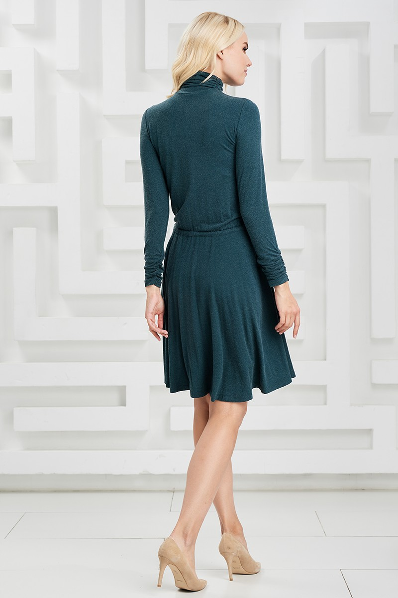 Зеленое шерстяное платье LalaStyle W01085