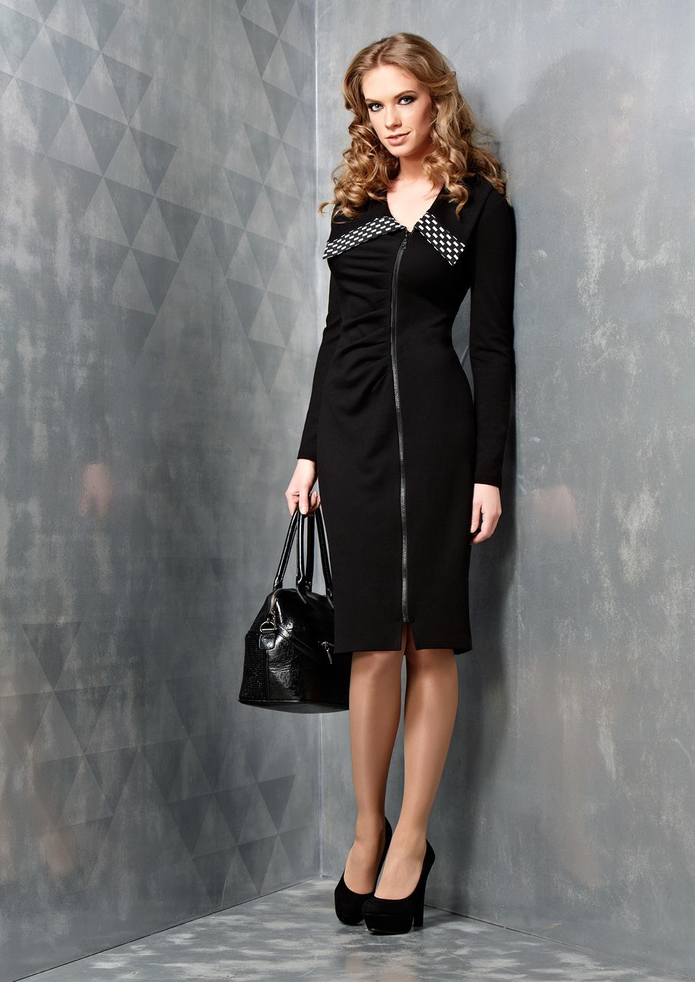 Стильное черное платье на молнии B3 008